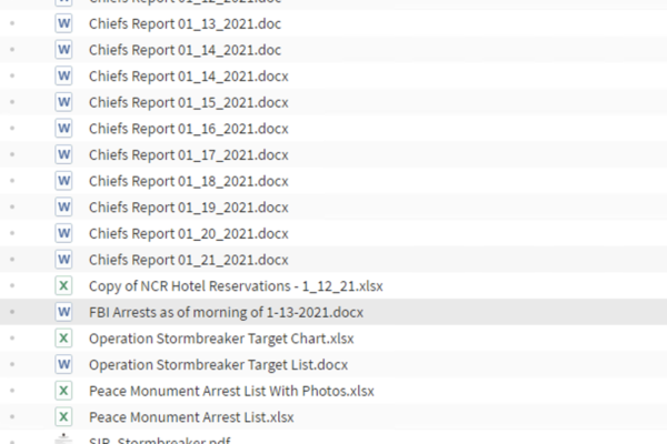 Screenshot of stolen files
