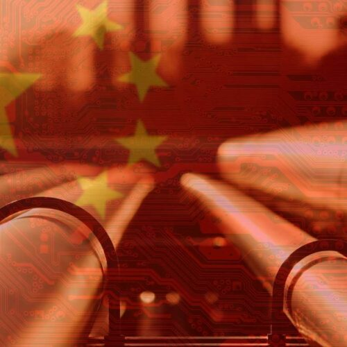 Chinese Flag and Pipelines